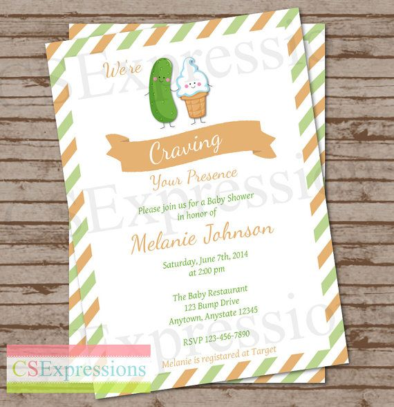 Craving Pickles and Ice cream Baby Shower invitation by CSExpressions on Etsy