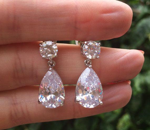 Teardrop bridal earrings classic teardrop by SheRocksJewellery