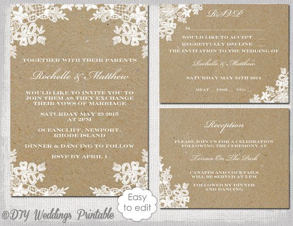 Printable Rustic Lace Wedding Invitation Set Template For