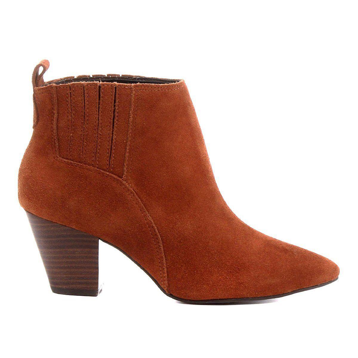 081cd8472 Bota Couro Chelsea Shoestock Salto Grosso Feminina - Marrom - Compre Agora  | Shoestock