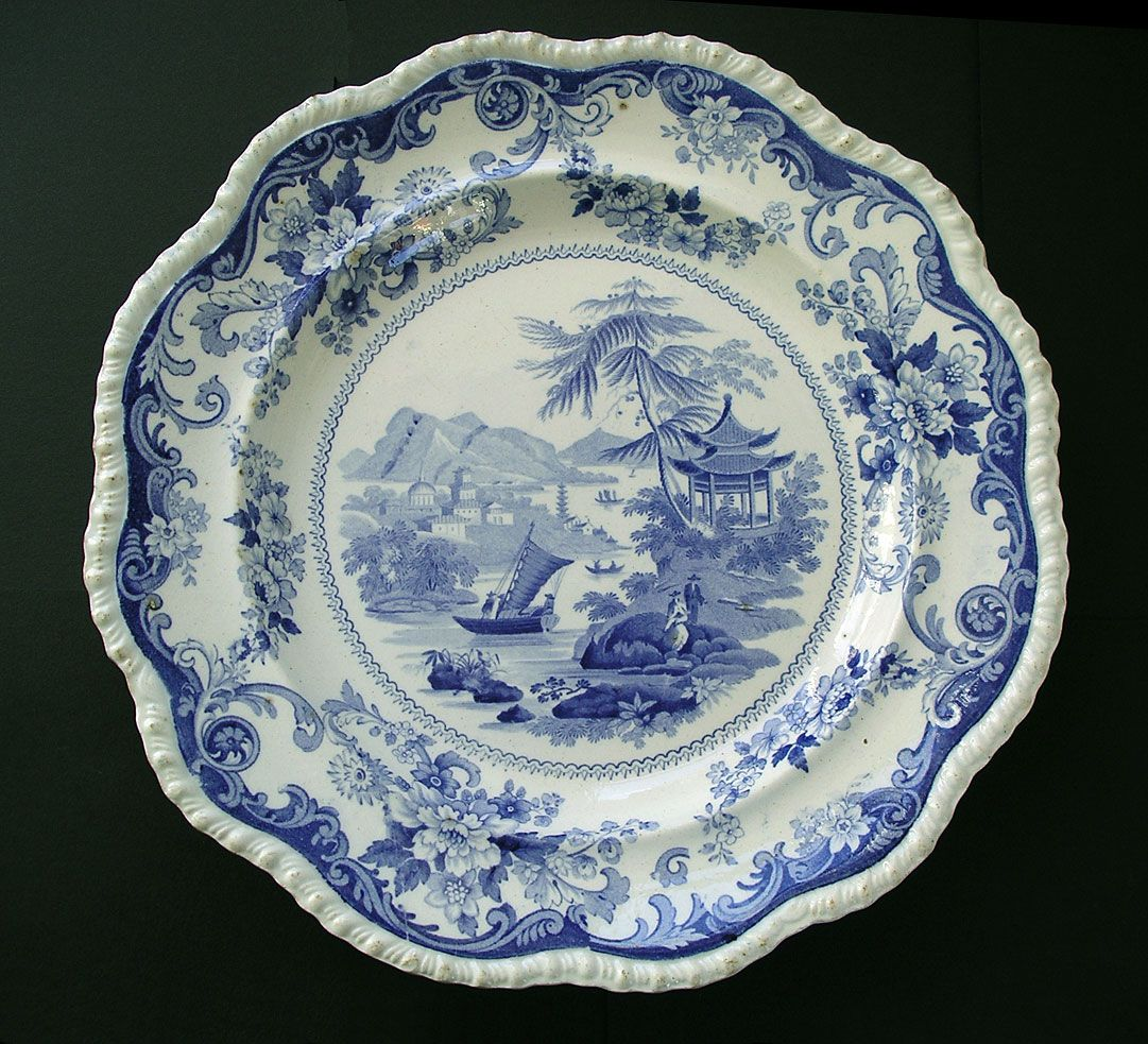 Blue And White Plates antiqueszone for sale: canton views pattern rare special mark red