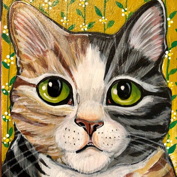 Original acrylic calico cat painting. Ginger and grey