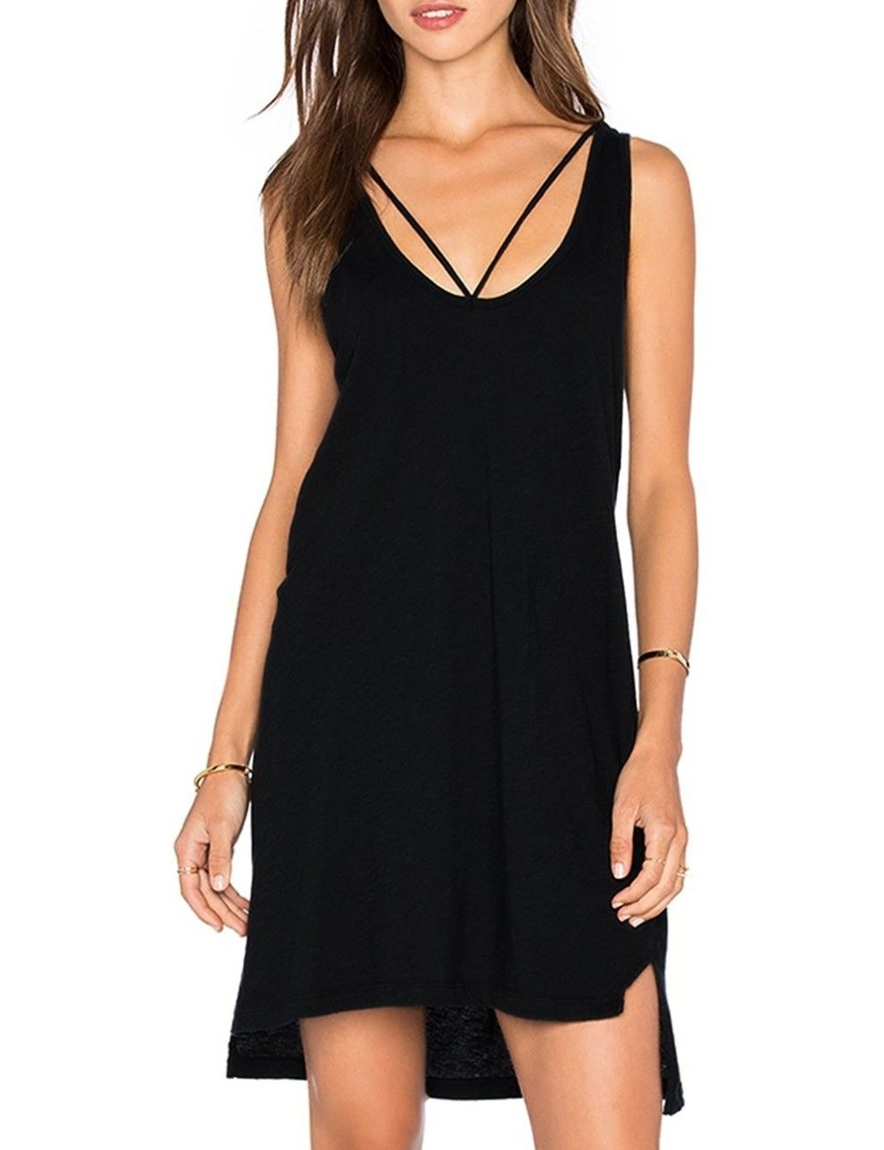 29 Summer Dresses And Jumpsuits For People Who Refuse To Wear Anything But Black Sleeveless Tshirt Stylish Short Dresses Summer Tops Women Casual [ 1287 x 990 Pixel ]