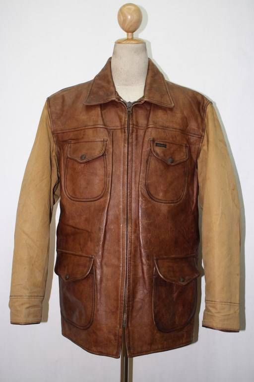 c2abf4d0188 Mens DIESEL Leather HALF BELT Hunting shooting Jacket Size Large ...