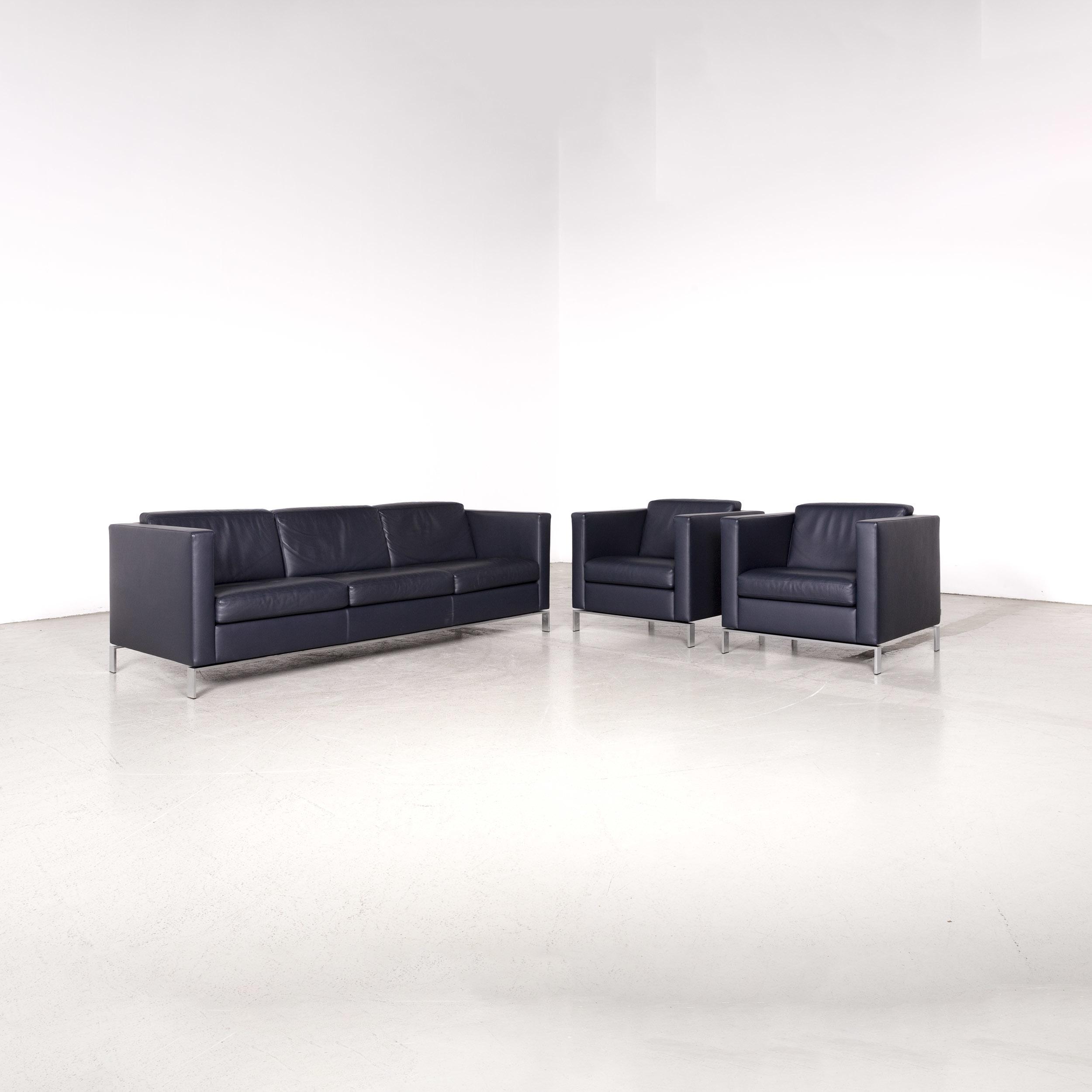 Walter Knoll Foster Designer Leather Sofa Set Blue Three Seater