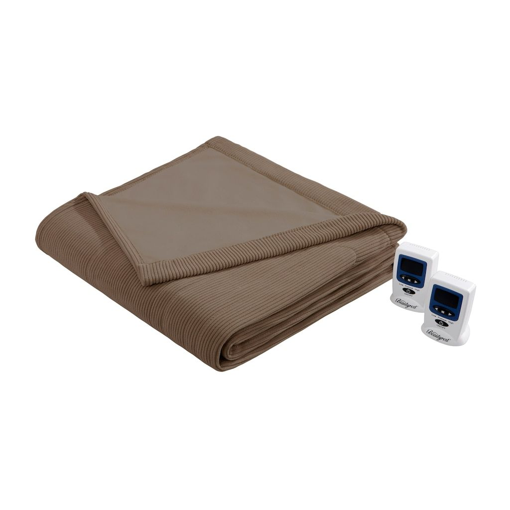 Beautyrest Knitted Micro Fleece Heated Blanket Brown Twin Heated Blanket Blanket