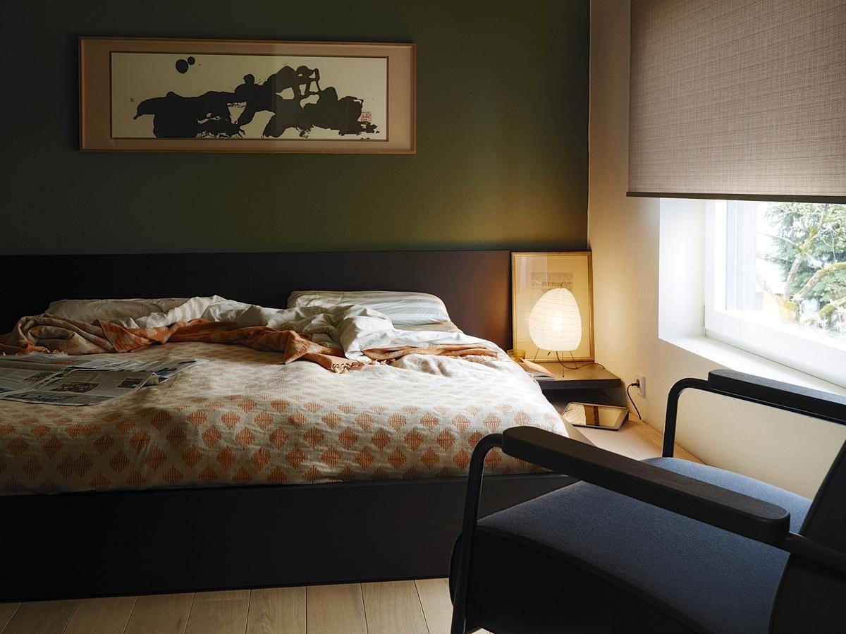 Schlafzimmer Dunkel ~ Dark green wall in bedroom * dunkel gehaltenes schlafzimmer