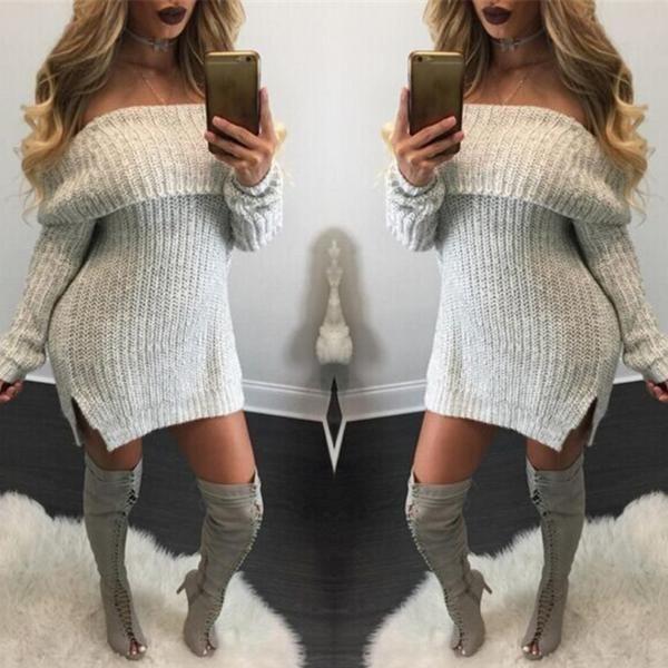 79e7318b2764d Autumn Women Off Shoulder Side Split Sweater Dress   Outfits   Knit ...