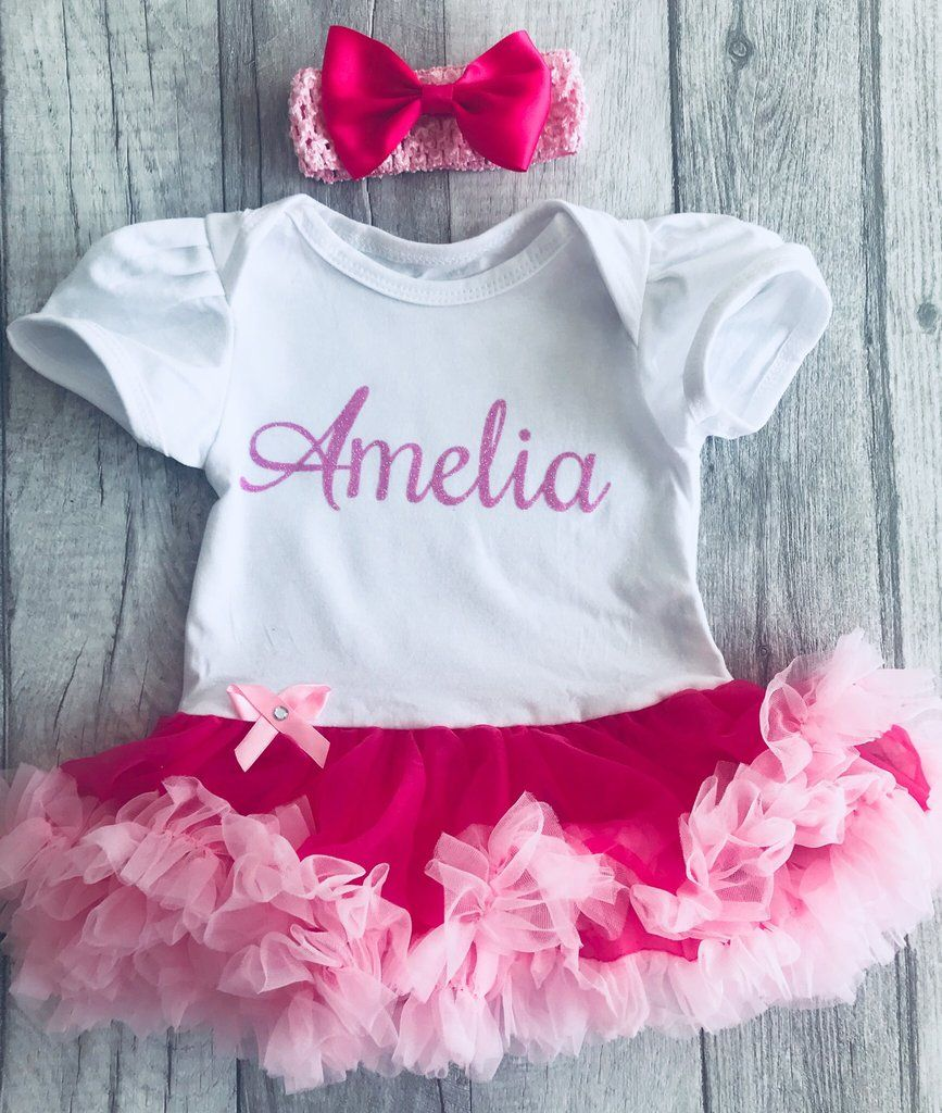 ee32faccb61 Personalised Pink and White Baby Girl tutu romper with matching headband