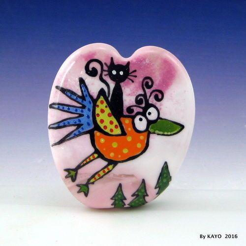 HITCHHIKING-WITH-CUCKOO-byKAYO-a-Handmade-CAT-Lampwork-Glass-Focal-Bead-SRA