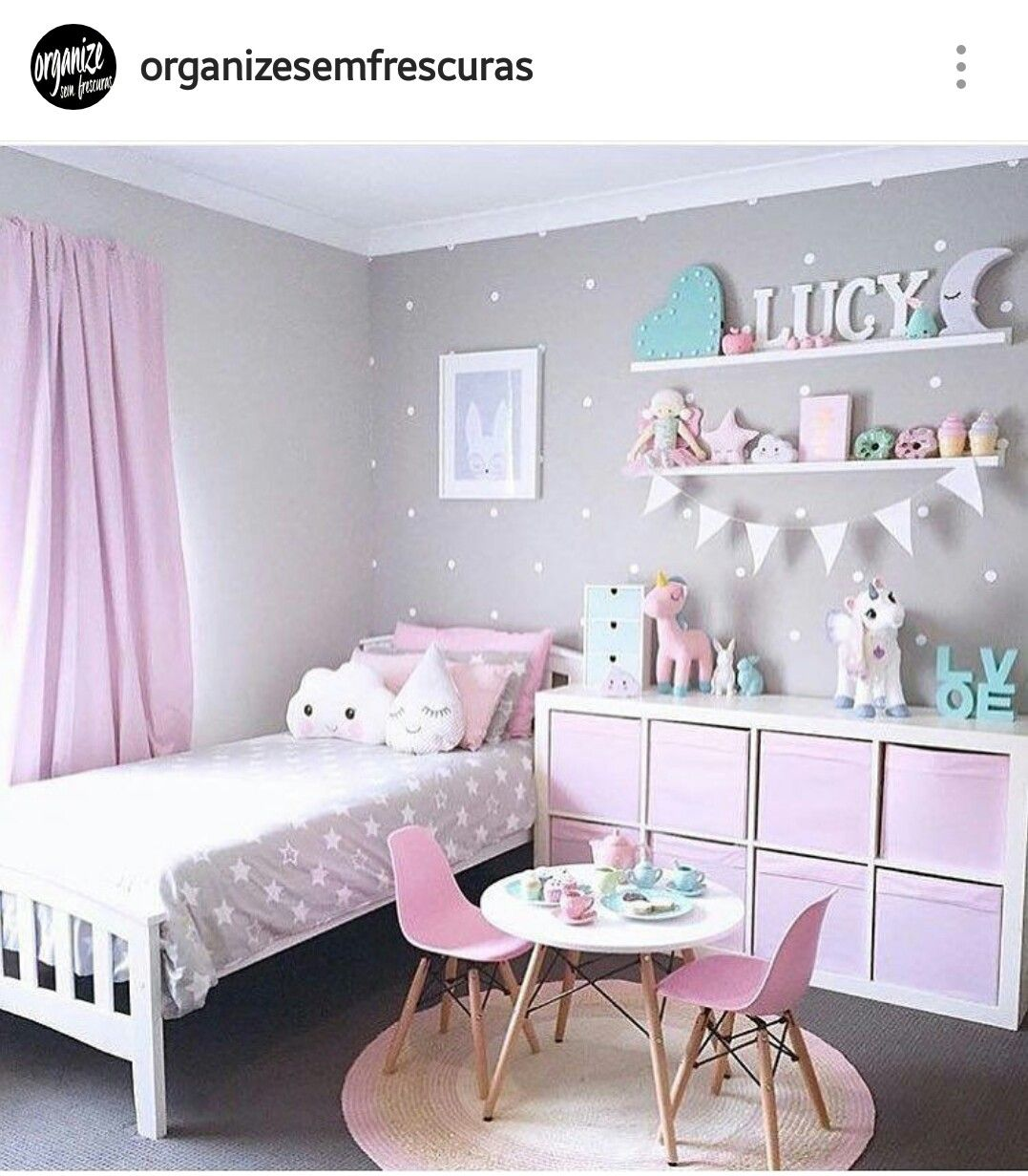 White Shelving Unit With Pink Clothe Totes. Hang On Wall To Create Space 🚀  Put Shelf On Wall On The Side Of Bed For Pictures And Decor And Hang Spice  Racks ...