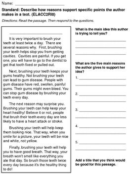 2nd Grade Common Core Reading Assessments - 2RI8: Supporting ...