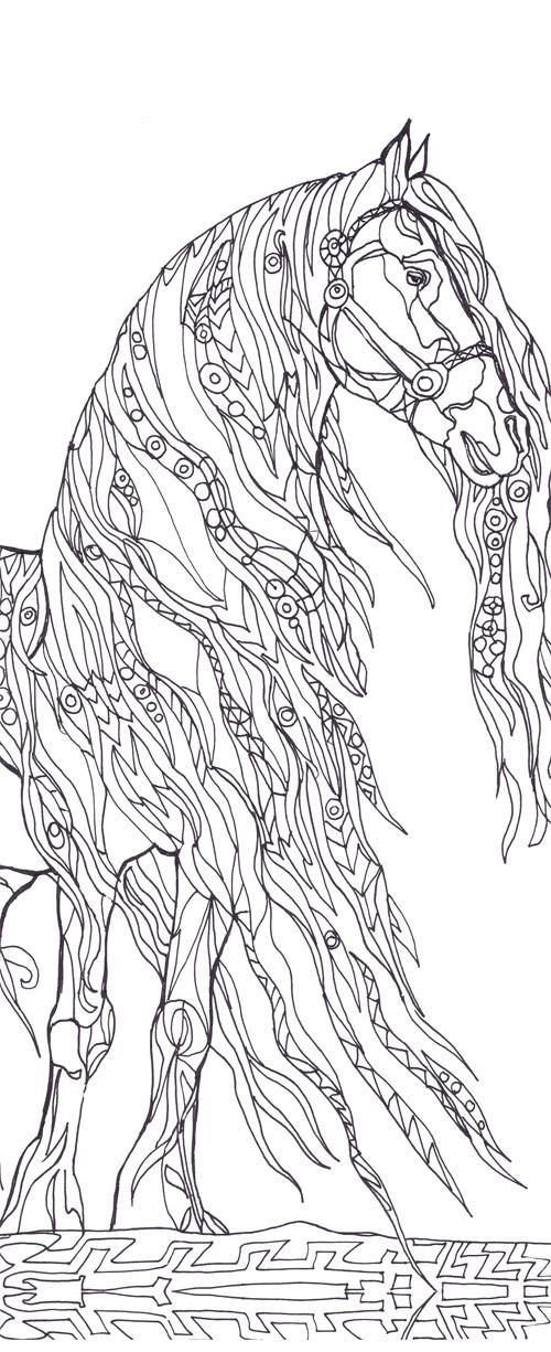 Horses Coloring Book Printable Adult Coloring Book Clip Art Hand Drawn Original Zentangle