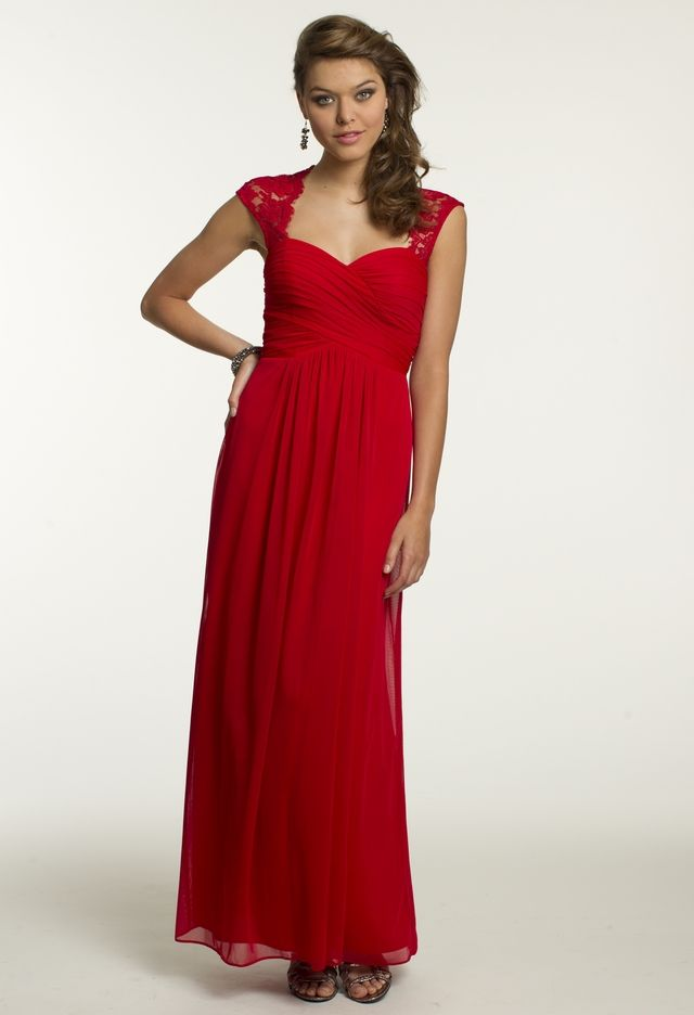 Mesh Dress with Lace Cap Sleeves | Red bridesmaid dresses ...