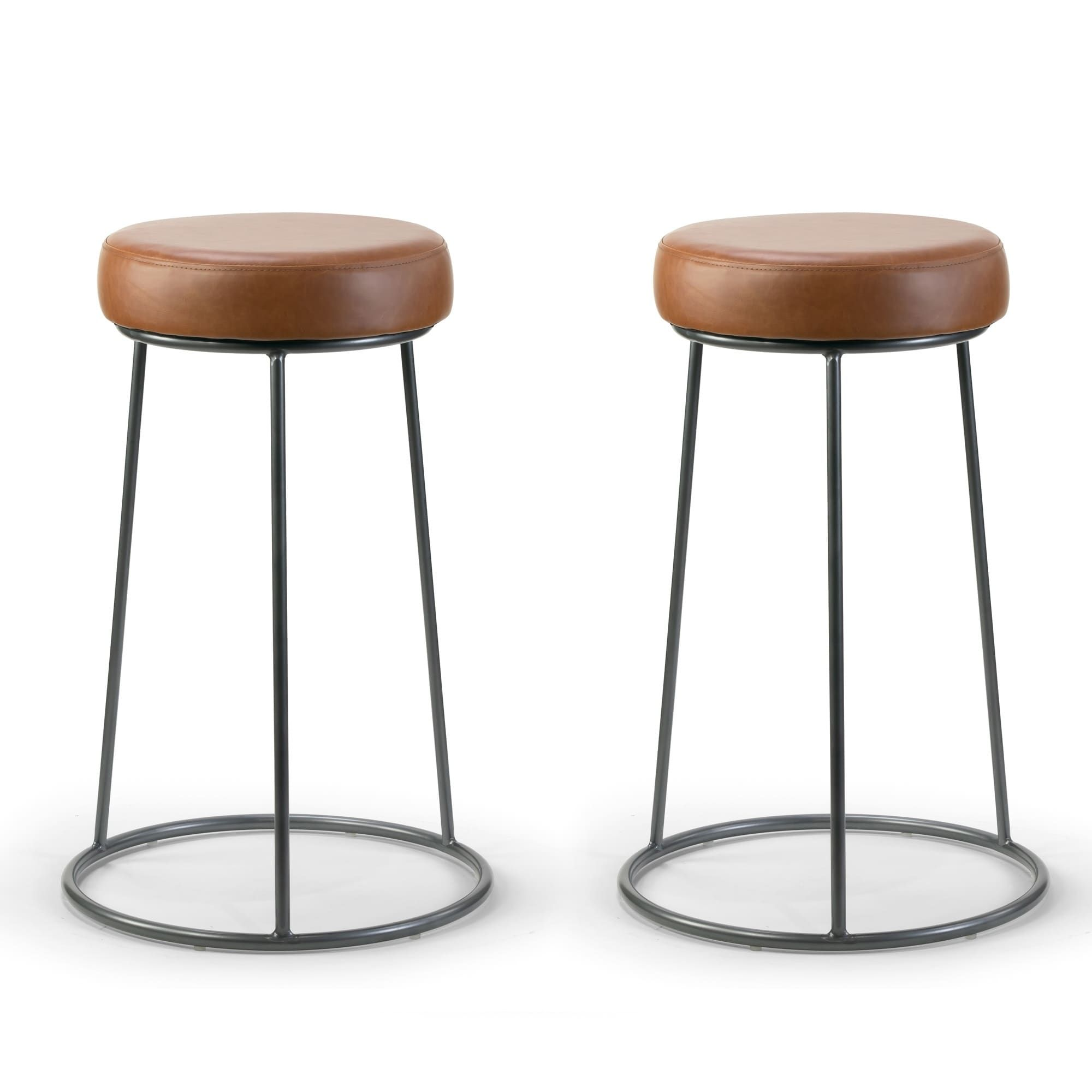 Amie Cappuccino Brown Faux Leather Backless Counter Stool With