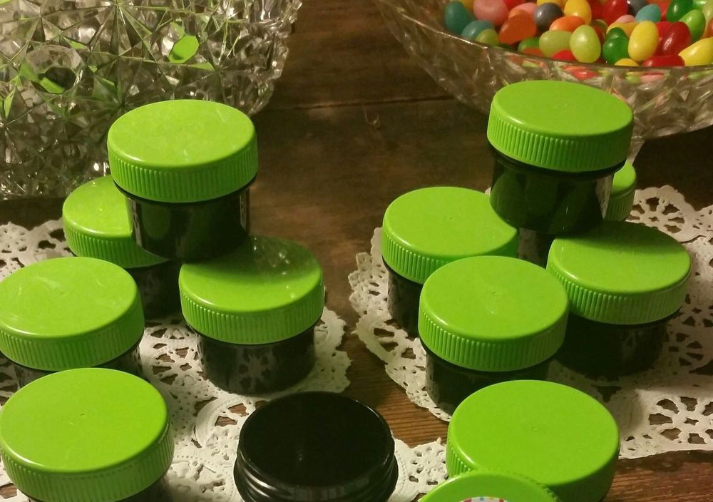 100 1 2 Oz 1tblsp Black Opaque Plastic Jars Lime Green Caps Decojars 3803 Decojars Cosmetic Jars Herb Storage Jar Storage