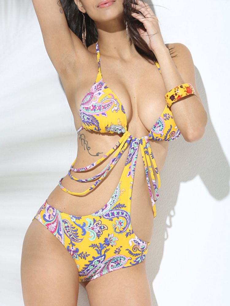 dd8425747be31 Sexy Lace Up Halter Printing Hollow Out Monokinis Low Cut Wireless Backless  Swimwear