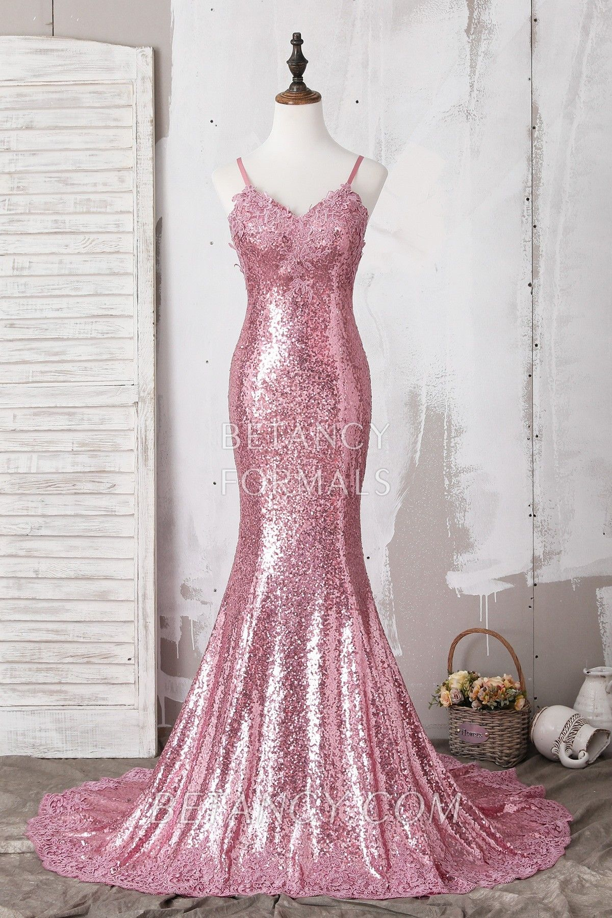 e6cfbb10915817 Elegant pink sequin mermaid long prom dress   pageant dress   military ball  dress