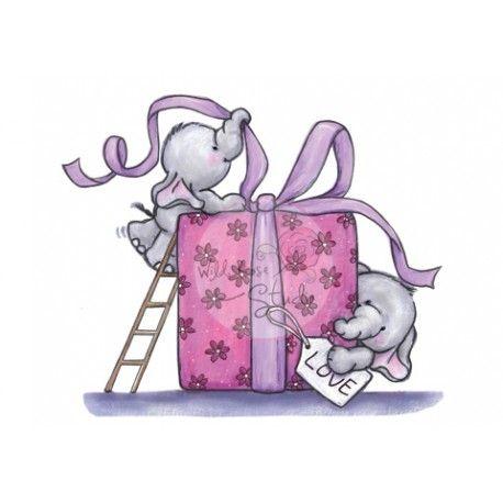 Tampon l phant et cadeau nature animaux pinterest - Dessin cadeau anniversaire ...