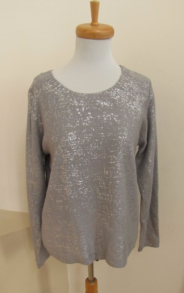 Nwt Sparkle Fade Silver Gray Shimmer Sweater S Urban Outfitters