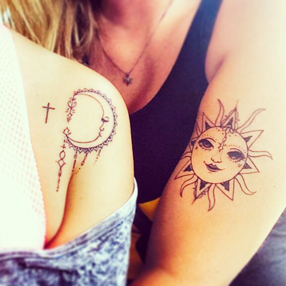 Long Distance Friendship Sun Moon Matching Bestfriend: Best Friend Tattoos, Sun And Moon Henna Style