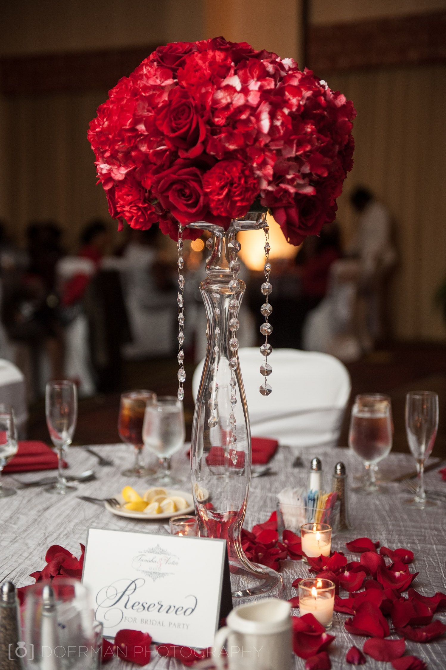 Red flower ball centerpiece with hanging jewels  Red Wedding Ideas in 2019  Rustic wedding