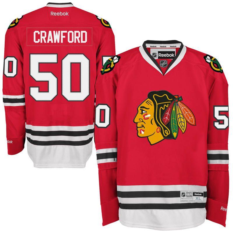 Reebok Corey Crawford Chicago Blackhawks Premier Player Jersey ...