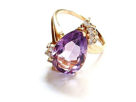 Gold Amethyst Ring Purple Amethyst Stone Amethyst Diamond Ring