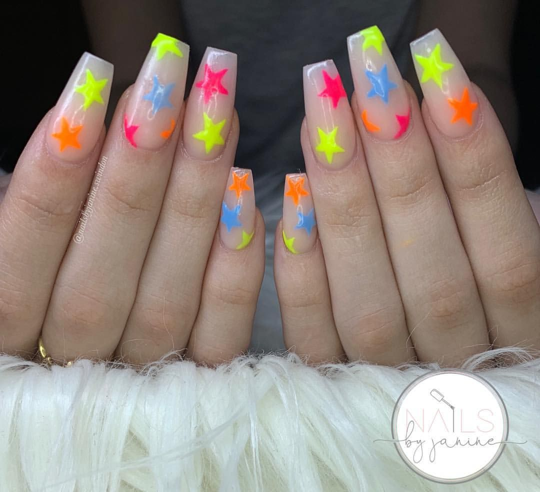 Kylie Jenner Inspired Star Nails Neon Acrylic Nails Kylie Nails Festival Nails