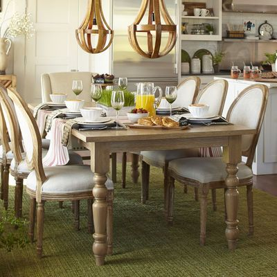 "torrance 84"" natural whitewash turned leg dining table 