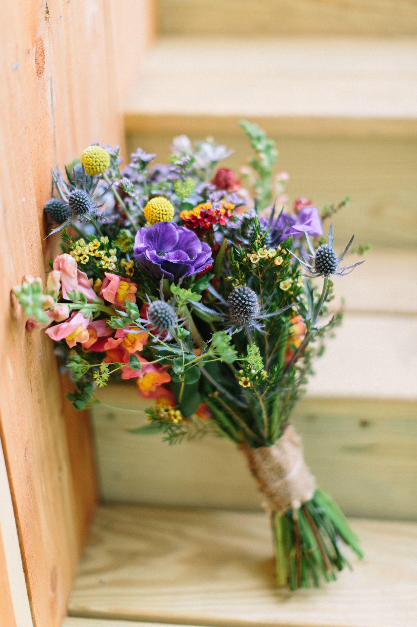 Bright wildflower bridal bouquet wildflower bridal