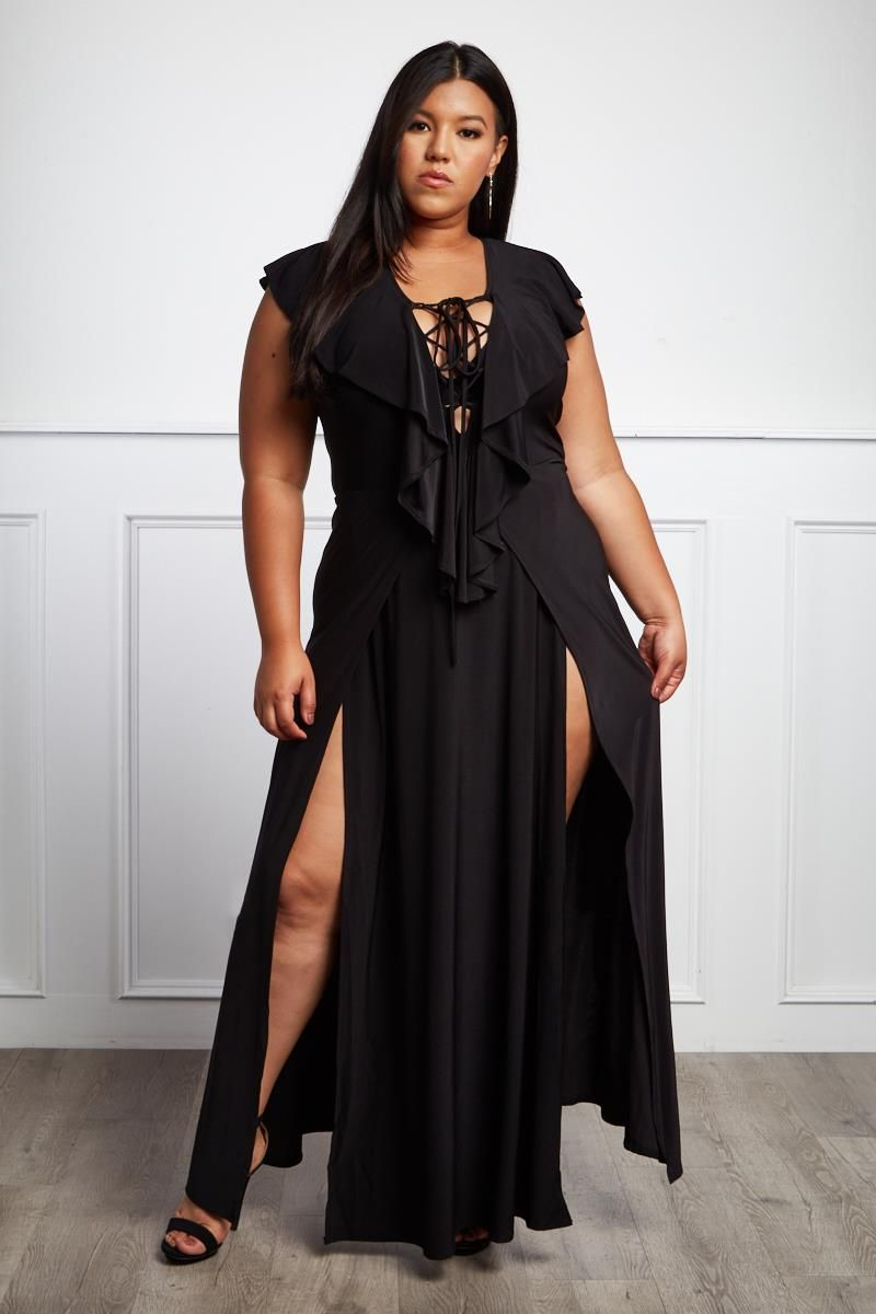 Detail View 1 : SECRET LOVER PLUS SIZE DOUBLE SLIT MAXI ...