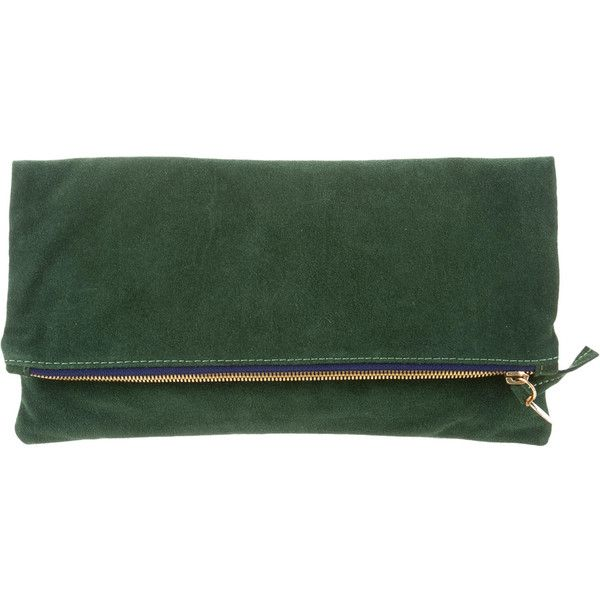 Pre-owned Clare V. Suede Fold-Over Clutch ($95) ❤ liked on Polyvore featuring bags, handbags, clutches, green, green handbag, handbags purses, green suede handbag, fold over clutches and preowned handbags