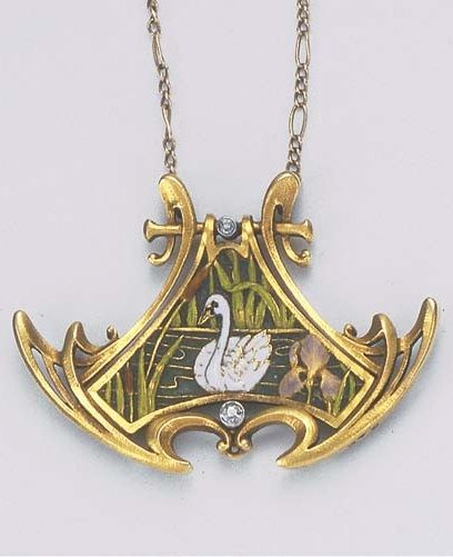 An Art Nouveau Plique-à-jour Enamel Pendant. The central plique-à-jour  enamel scene of a white enamel swan among bullrushes and an iris within a gold surround with diamond collet detail, gold reverse engraved with swan and foliage, to the later link chain, circa 1890, with French assay mark for gold, maker's mark AC with clover between, numbered.