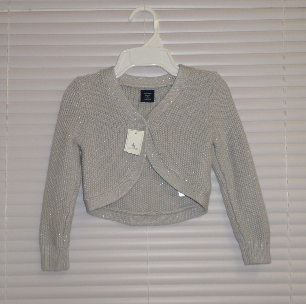 Details about Baby Gap Girls Gray Silver Metallic Shrug Cardigan ...