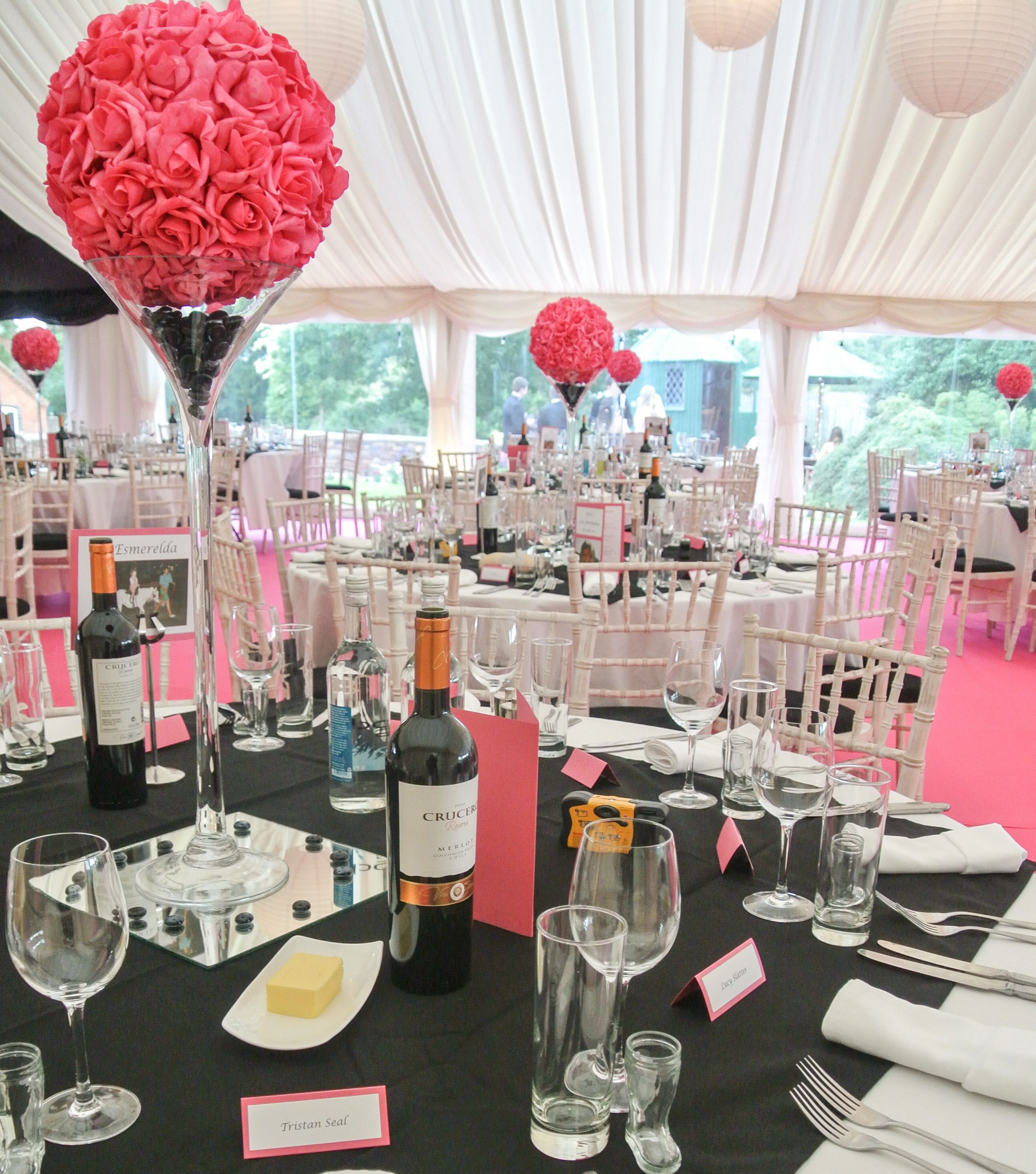 Party Marquee In Pink And Black Decoration Idea Decor 21st 18th Birthday