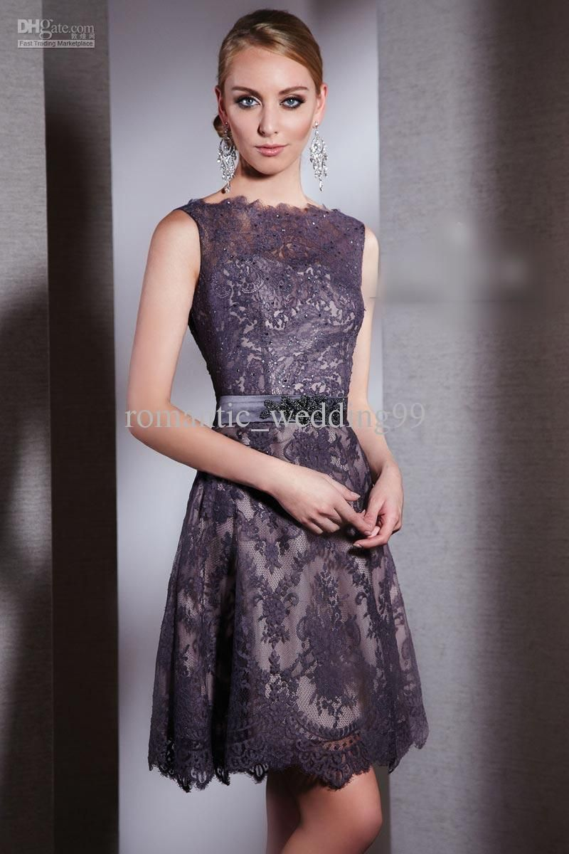 Wholesale vintage bateau knee length lace mother of the bride dress