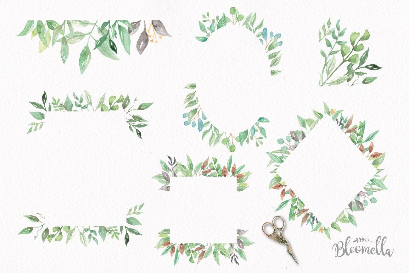 Watercolor Leaf Frames Green Leaf Clipart Borders 75112 Illustrations Design Bundles Clip Art Borders Watercolor Leaves Leaf Clipart