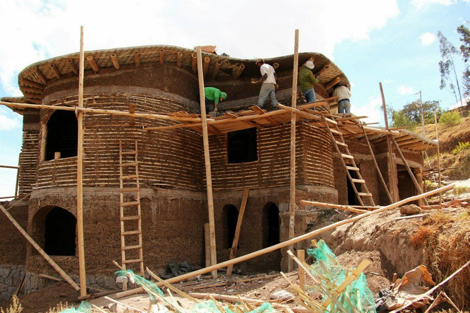 Cob house construction