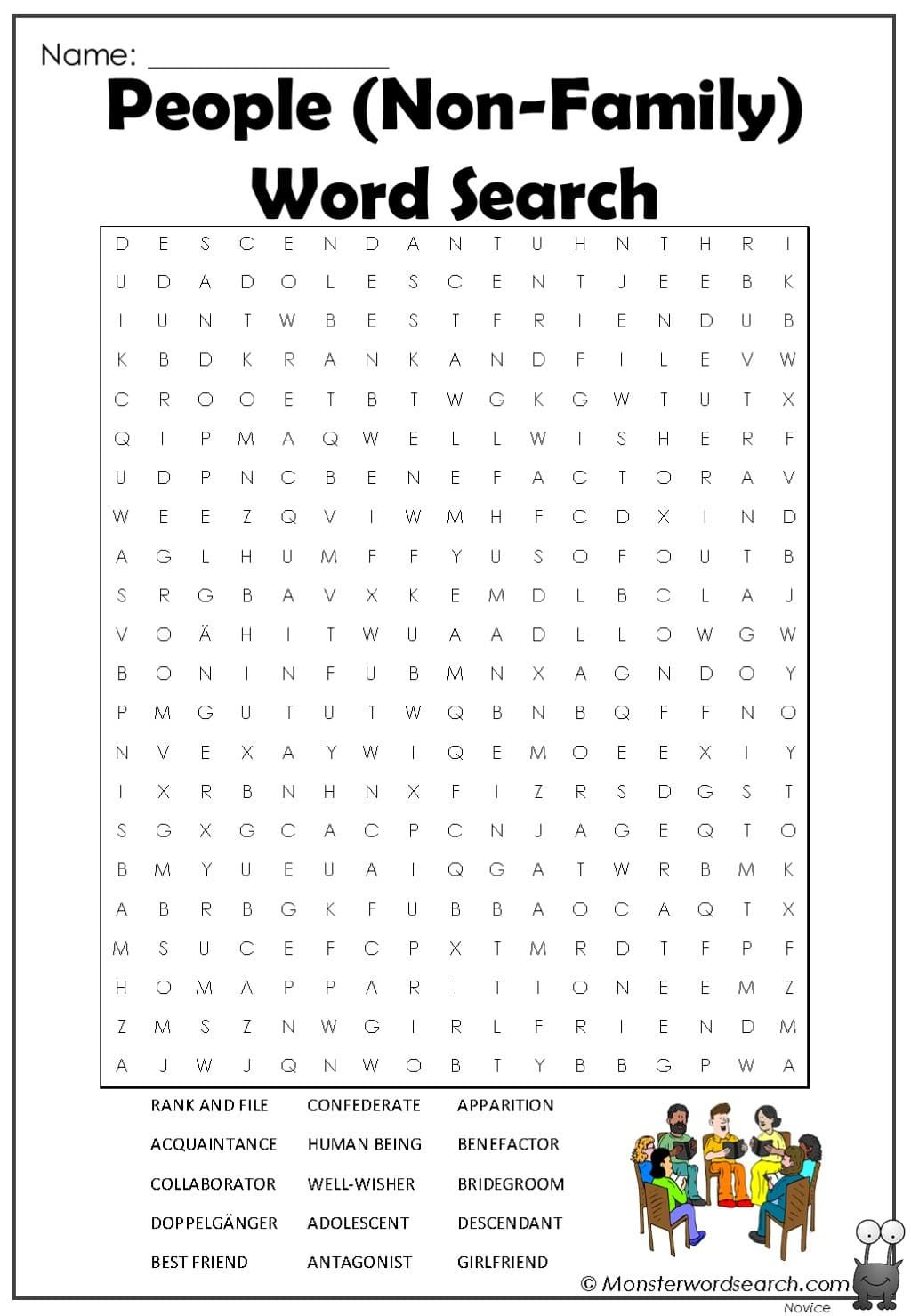 People Non Family Word Search In