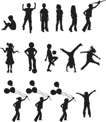 free vector children silhouettes - Free Images Children