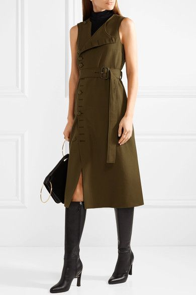 Sale Outlet Finishline Cheap Price Gillis Wool-twill Midi Dress - Army green Joseph Shop Offer Cheap Online Outlet Real Online Shop Gm0slcSKLf