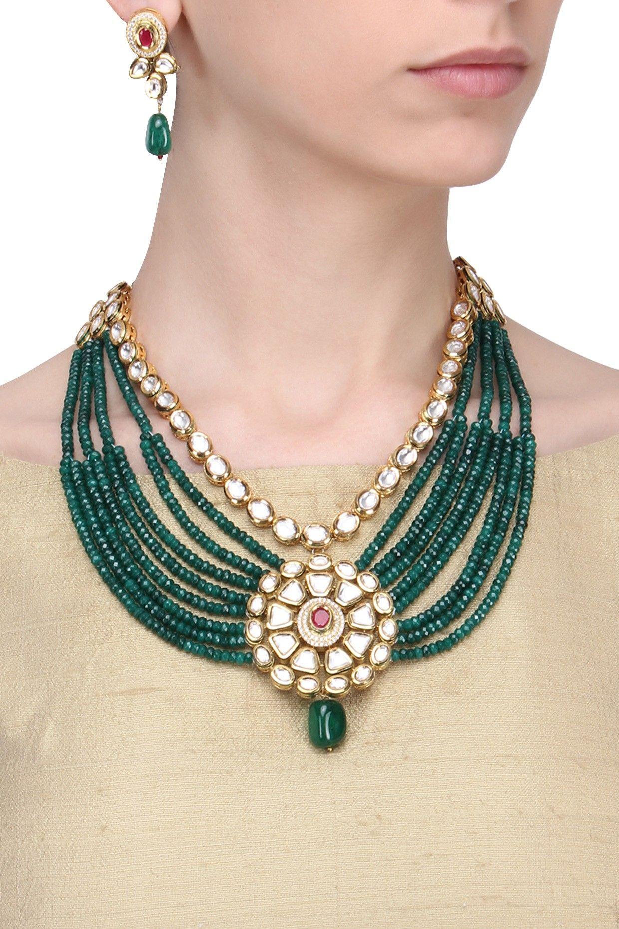 Zevar by geeta gold finish emerald and kundan stone multi strand