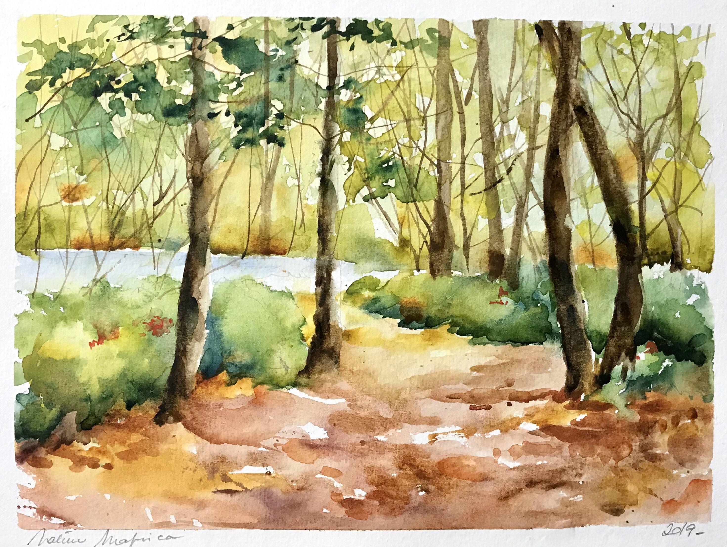 Aquarelle Peinture Originale Chemin A La Sortie Du Bois Pond