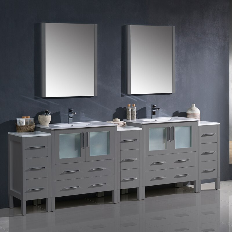 Torino 96 Modern Double Sink Bathroom Vanity W 3 Side Cabinets Integrated Sinks Double Vanity Bathroom Bathroom Sink Vanity Double Sink Bathroom Vanity