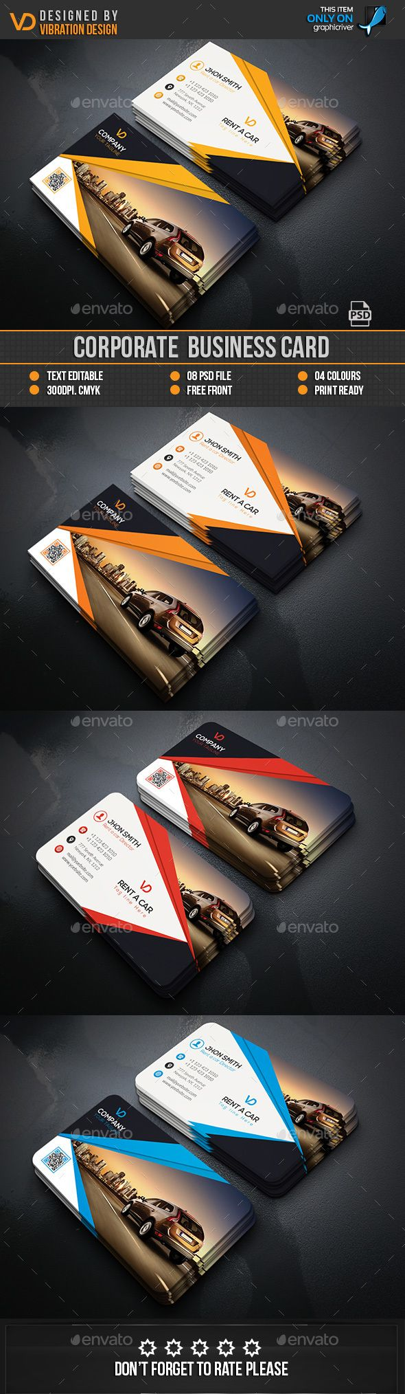 Rent a Car Business Card — Photoshop PSD #white #package • Available ...