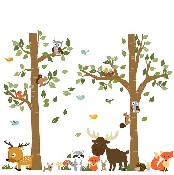 A Walk In The Forest Wildlife Animal Stickers Wall Decals