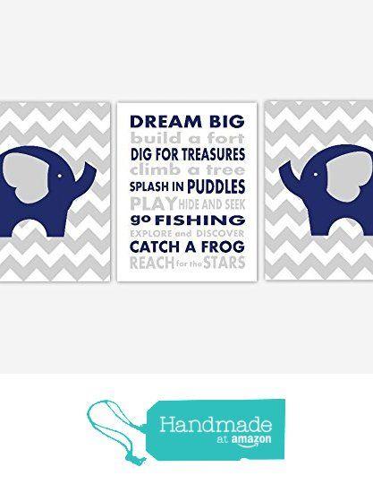 Boy Nursery Wall Art Navy Blue Gray Grey Elephant Dream Big Chevron Toddler Boy Baby Nursery Decor SET OF 3 UNFRAMED PRINTS from Dezignerheart Designs https://www.amazon.com/dp/B017AI0SF6/ref=hnd_sw_r_pi_dp_5KpZybD91E4DX #handmadeatamazon