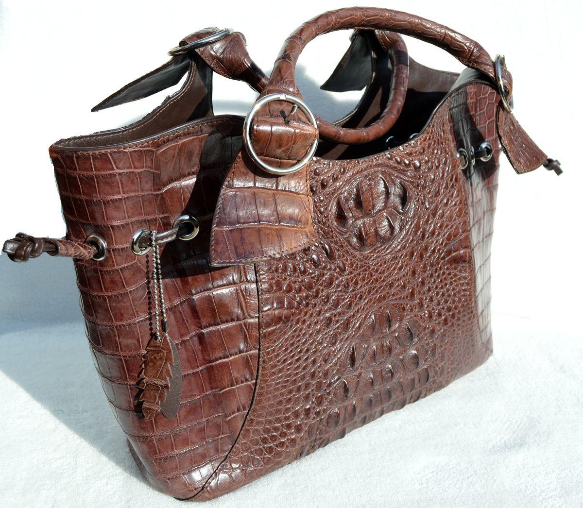 253dda48ab1f AMPLE 16 x 10 Early 2000 s TOBACCO Brown Hornback CROCODILE Skin Shoulder  Bag TOTE Satchel
