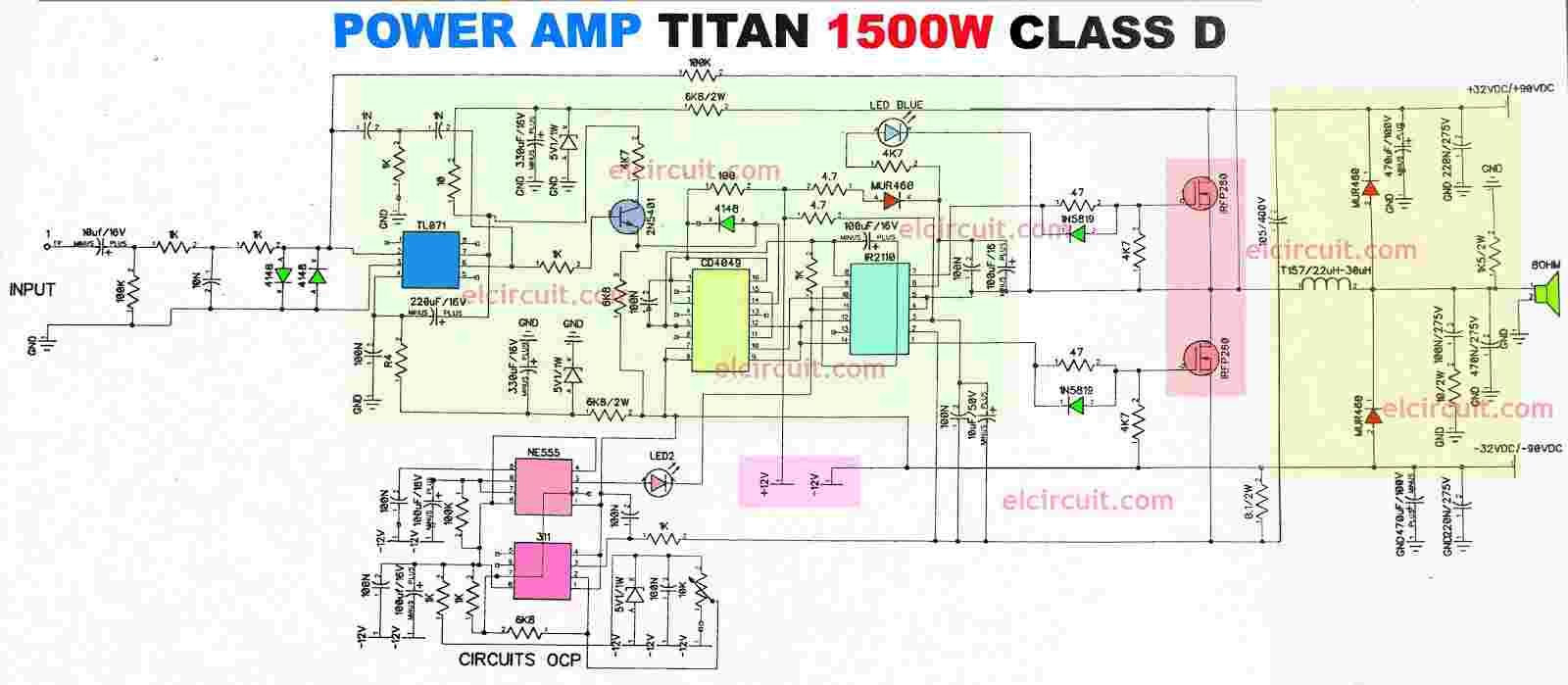 Power Amplifier 1500w Class D Ir2110 Cd4049 Skema Amply Audio Block Diagram High Circuit Electronic The